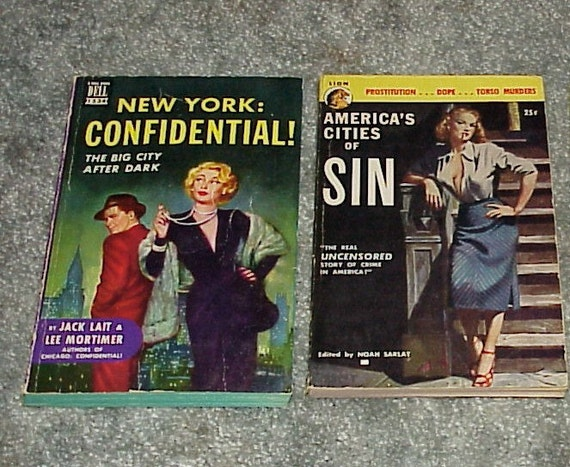 2-Vintage--PULP--Novels--Expose'--America's Cities Of Sin--New York Confidential--PULPS--Soft Cover--Fact Based