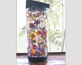THERMOS, PRESSED FLOWERS, Transparent,  Botanical Travel Tumbler  Multicolor,