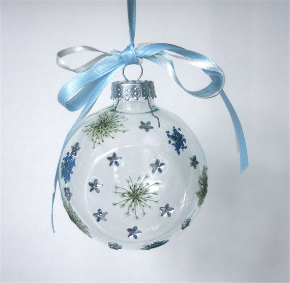 Glass Ornament, Pressed Flowers in Blue and White