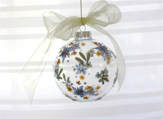 Pressed Flower Glass Ornament Christmas