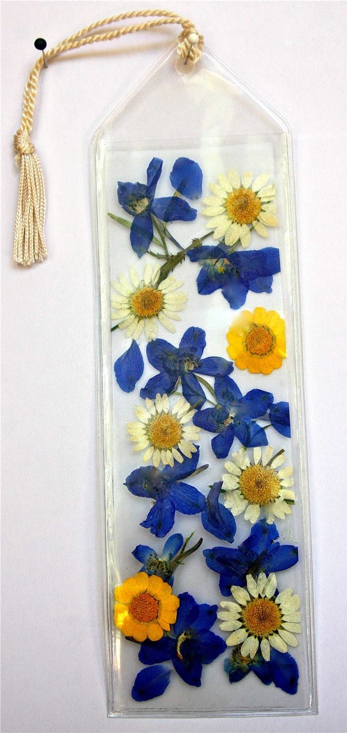 Pressed Flower Bookmark Yellow And Blue Kanary S View