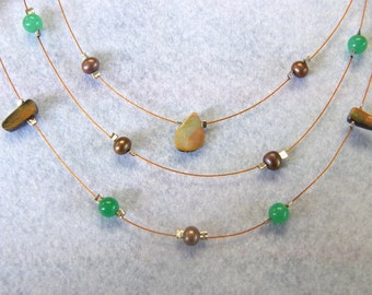 Natural Gemstone Necklace with Australian Boulder Opal and Chrysoprase - Item 168117, FREE shipping