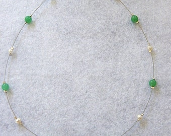 Opal Necklace, Boulder Opal, Chrysoprase and Freshwater Pearl Necklace Item 1011112 - FREE SHIPPING