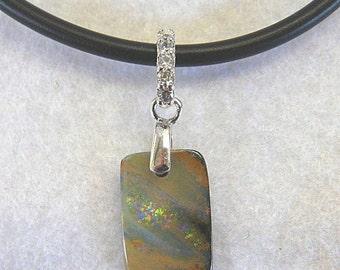 Opal Pendant, Pretty Boulder Opal on Black Rubber - Item 134123  - FREE Shipping