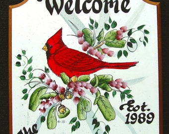 CARDINAL Welcome Sign   PERSONALIZED   Great  GIFT Idea