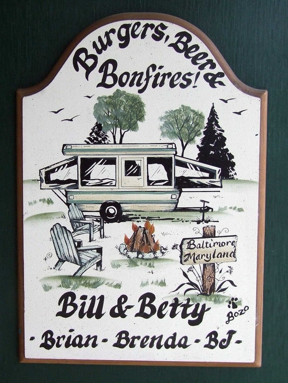 Pop Up Camper Camping Campsite Welcome SIGN PERSONALIZED Weatherproof Great Gift