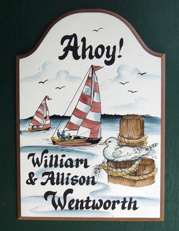 Personalized SAILBOAT Welcome/Address Sign     Weatherproof      Great GIFT Idea