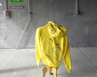 Mens Sunshine Yellow - Zip Up XL Hoodie - Tree Roots with a thought of Lightning