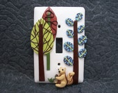Ethan - Woodland, tree, and squirrel single light switch plate