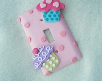 Cupcake Light Switch Cover or Outlet Cover - Pink, Lavender, Turquoise - Cupcake Nursery Decor - Cupcake Themed Room Decor - Polymer Clay