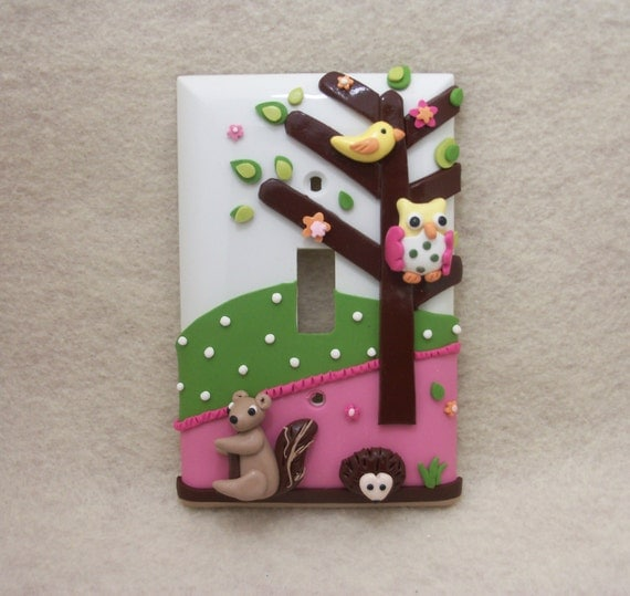Two Abigail Owl, Bird, Hedgehog, and squirrel - Light switch cover - Reserved for PrettyPrincez