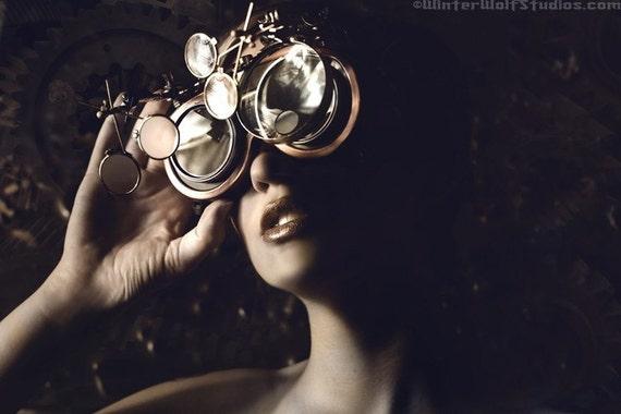 New Steampunk Goggles \/ Sleepy Hollow Glasses \/ Custom 5 Lens System Unisex Design
