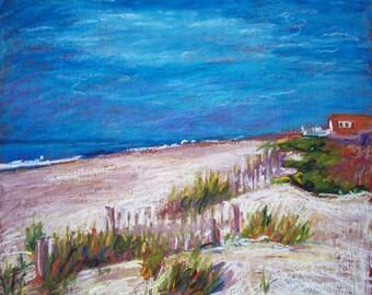 North Carolina Beach Painting, Framed Original Oil Pastel,  Emerald Isle Dunes