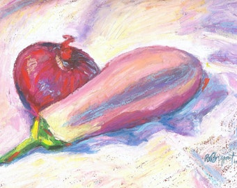 Vegetable Still Life, Painting, Original Oil Pastel on Board, 8 x 11 Red Onion and Eggplant