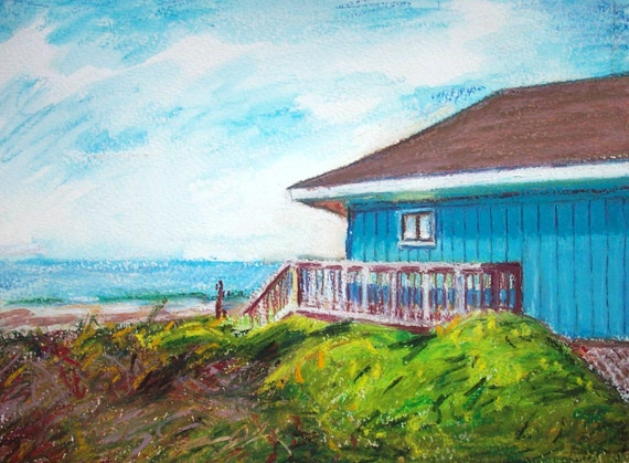 North Carolina Beach House Painting, 9 x 12 Original Oil Pastel on Paper, The Blue One