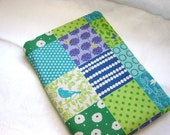 iPad Case, Padded iPad Sleeve Cover- Blue Patchwork