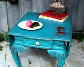 Brick & Turquoise Shabby Drop Leaf Table RESERVED FOR tsammis50