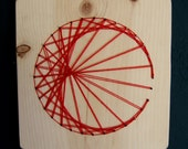 Modern String Art Wooden Tablet - Cardioid in Red on Natural Wood