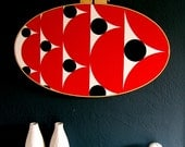 Red, Black & White - Modern Hoop Wall Art