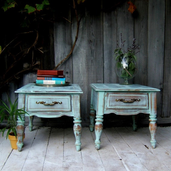 Set of Matching End Tables in a Blue Mint Wash