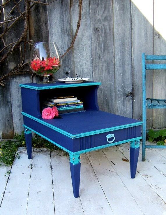 Two Tier End Table in Cobalt Blue and Cozumel Teal