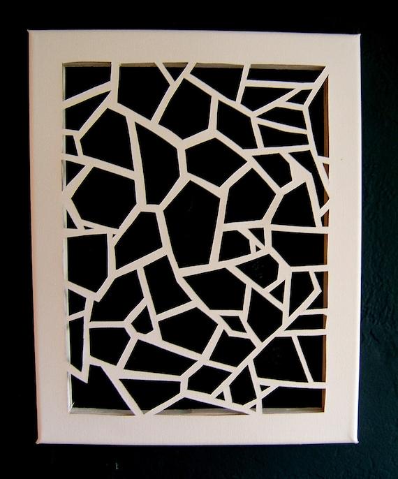 Geometric Cut Canvas - Solid White