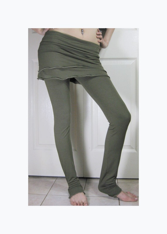 Bamboo Legging\/Feet Warmer With Skirt - Moss