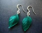Glass Leaf Earrings - Large Dark Green