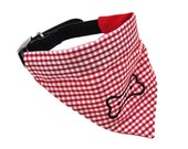 Doggie Neckerchief - Medium Red Gingham