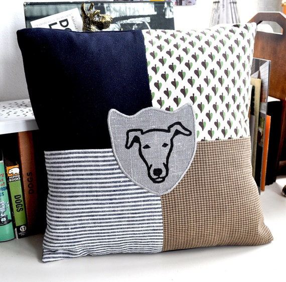 SALE - Whippet - Greyhound Print Patchwork Cushion