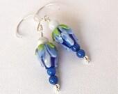 Blue Lampwork Cottage Flowers, Dangling blue and green glass lampwork earrings