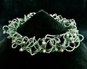 Reseda Odorata -- Wavy Choker with emerald and freshwater pearls