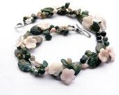 HYLAS & THE NYMPHS Green Pink Flower Choker, Double Strand Art Nouveau Choker, Moss Agate Flower Choker, Bridal Choker, Bridal Bracelet
