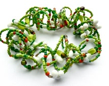 Mary had a little Lamb -- Wavy choker in lime green and white vintage beads