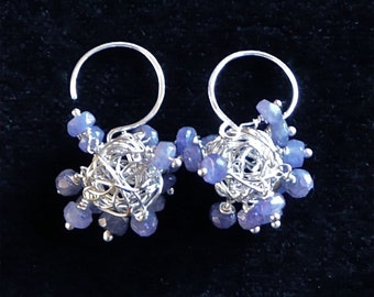 Ceanothus -- Tantalizing tanzanite and sterling silver dangling earrings