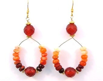 Sunset -- dangling earrings with fire opal, carnelian and gold vermeil