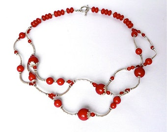 Fairy Cherries -- A vinelike choker with red jade and Hill tribe silver