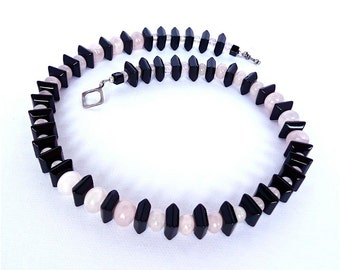 Undulation -- Black and Pink Asymmetrical Beaded choker with Onyx and Rose Quartz