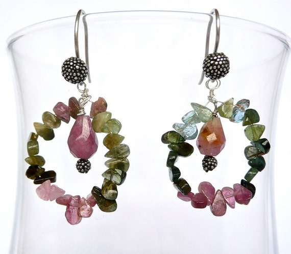 SALE -- Flower Garden -- Exquisite dangling hoops with tiny flat tourmaline briolettes