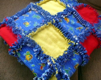 Boys Bold Blue Bug Rag Quilt