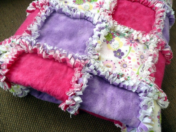 Girls Purple And Pink Flower Rag Quilt