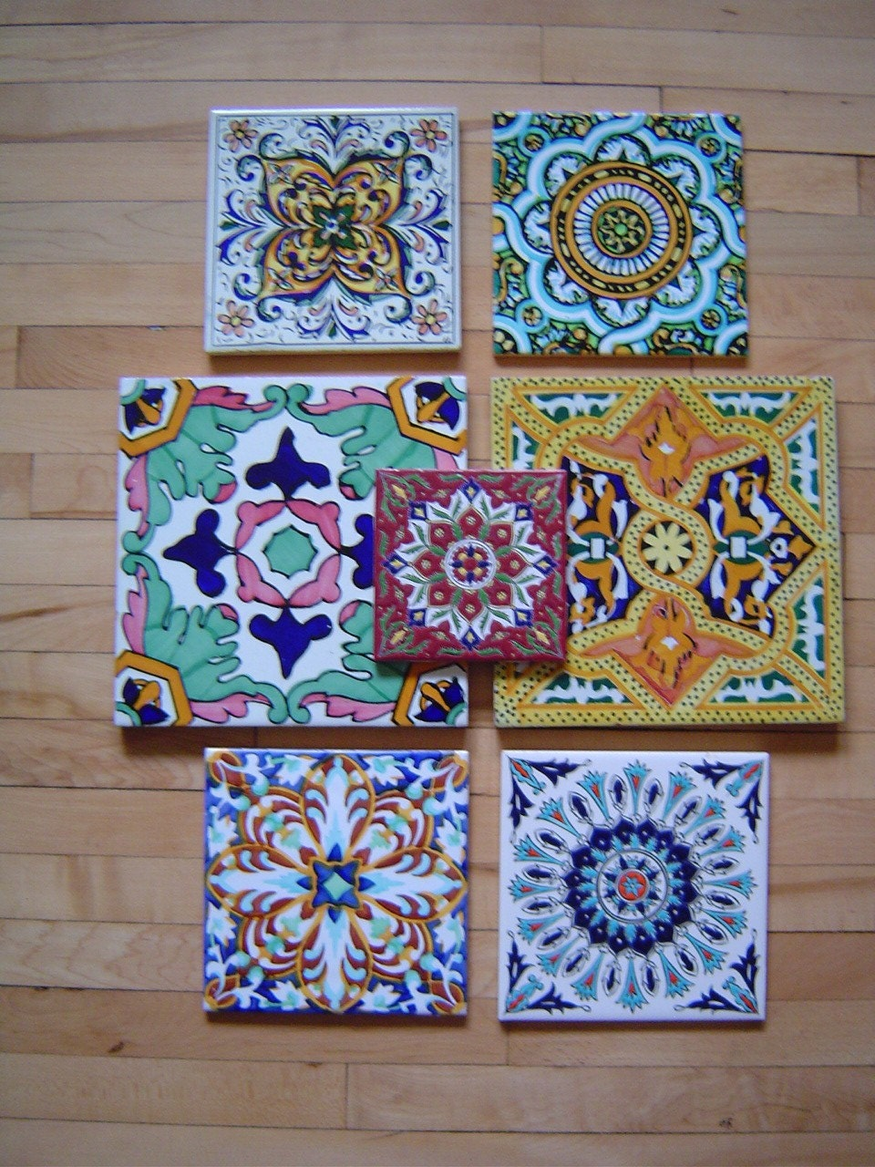 7 Older Beautiful Spanish And Greek Decorative Tiles By
