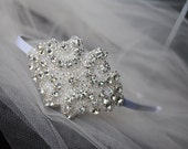 Bridal Rhinestone Headband,  Wedding Hair Accessory,  Prom Hair Accessory, White, Small