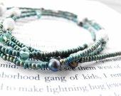 Eyewear.  Seed Beads, Small Hawaiian Shells, Czech Glass, Freshwater Pearls Beaded Eyeglass Holder Chain Cord Blue, Green & White