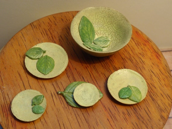 Dollhouse miniature bowl and plates  green pottery set  OOAK