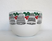 Arabia Enamel Bowl with Bells and Holly