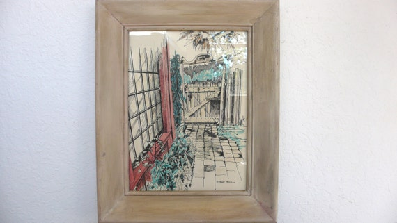 Framed Pen and Ink Drawing