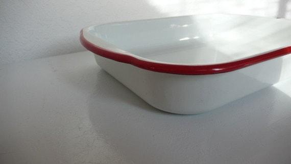 White Enamel Baking Pan