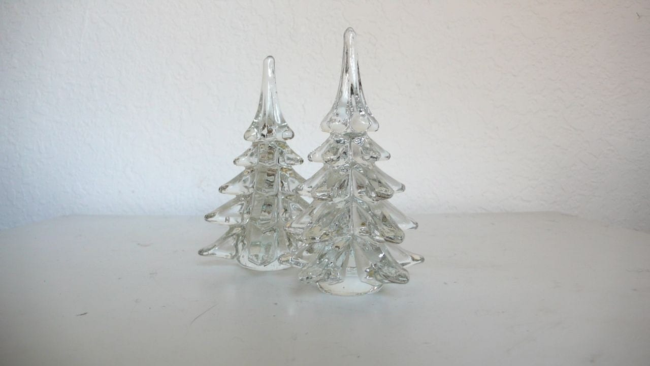 Pair Of Clear Glass Christmas Trees