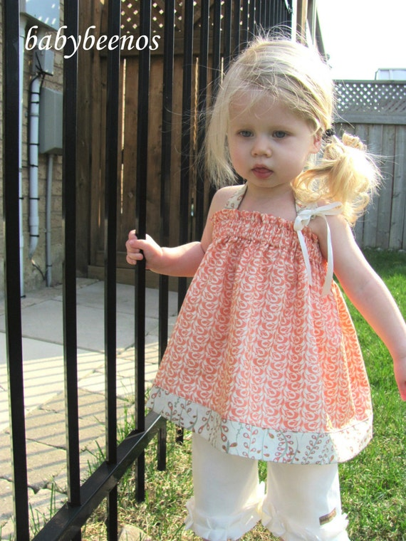 COCO  - Girls Halter Blouse - APRICOT - Ready to Ship - Size 2T - SALE